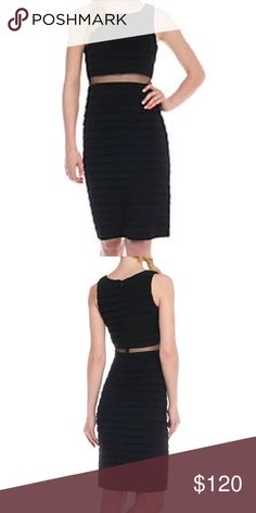 Betsy and Adam Mock 2 Piece Shutter Dress Turn heads when you walk in the room wearing this stunning and streamlined mock two-piece dress! It features a sheer mesh waist with a top and bottom that feature textured jersey fabric. Accessorize with simple heeled sandals and minimal jewelry so you can let this impressive frock shine. • Approximately 39-in. L • Invisible zip closure • Scoop neck • Sleeveless • Fully lined • Jersey fabric • Polyester • Dry clean only • Imported…