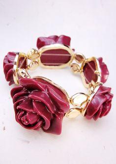 Fashion Jewelry Flower Bracelet Plum