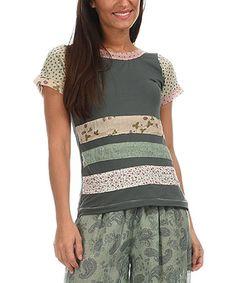 Loving this Khaki & Beige Floral Stripe Top on #zulily! #zulilyfinds