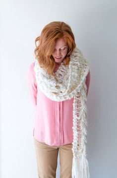 Drop Stitch Cable Scarf Pattern by Knit Collage ~ Frolic into winter with our Cloud Walking Shawl pattern. Knit on large needles in a simple lace pattern, the end result is nothing short of magical! This triangle shawl is knit bottom up with easy double increases and comes in two sizes: a full shawl (shown in color Fog Heather) and smaller scarf (shown in color Into the Jungle). Both are light as a feather but are sure to keep you warm and cozy all winter long in our 100% wool, bulky Spun…