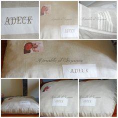 Coussin et tapis personnalisé pour chien par Aimable et Suzanne :  http://www.aimablesuzanne.com