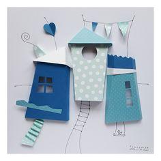 Cabane papier dans cadre vitrine 26 x 26 cm blanc Decoration, Bird, Outdoor Decor, House, Home Decor, 3d Paper, Cabins, Wall Art, White People