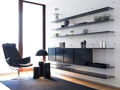 The String Shelf system is a flexible storage solution that can be assembled as shown in the main image. Due to the flexibility of the design, the shelves and units can also be repositioned in a number of different ways to suit your needs. Living Room Mantle, Shelves, House Interior, Shelf System, Wall Shelves, Shelving, Living Furniture, Interior, Furniture