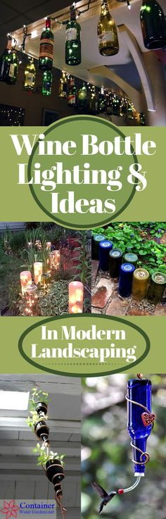 Wine Bottle Lighting & Ideas In Landscaping with pictures and D.I.Y. tips | Used wine bottles for the garden