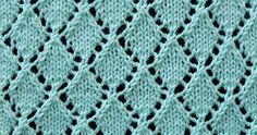 Lace knitting stitch of the Month - September 2016. Openwork Diamonds Knited Lace Stitch. Cast on a multiple of 8 sts, + 1 and 12-row repeat.