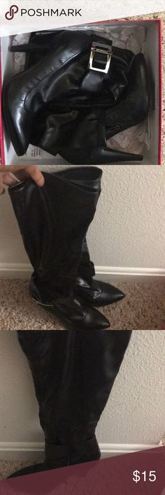 Bcbgirls boots Lovely BCBGirls Boots.  Soft leather, pointing toes, blaxk Brumas stretch boots.  'Worn once and in excellent shape'.  Now scrapes or scratches BCBGirls Shoes Heeled Boots