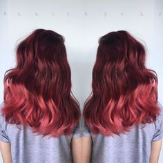 """Hair Gypsy on Instagram: """"Love this rich ruby red to pink ombre by @hair.bysky…"""