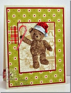 Christmas Bear by Tammy Hershberger. Stamped using Multi Step Teddy Bear Wishes and Multi Step Things 4 Ducky & Teddy from Kitchen Sink Stamps, Inc.