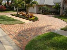 If you have a new or existing driveway that needs to be laid with concrete but you are nervous about the price of cement and labor cost then maybe you should consider pavers. Brick Paver Driveway, Diy Driveway, Driveway Design, Concrete Pavers, Circular Driveway, Front Driveway Ideas, Driveway Apron, Paver Sand, Modern Driveway