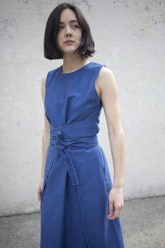 Caron Callahan Harris Dress in Indigo Twill | Oroboro | Brookyln, New York