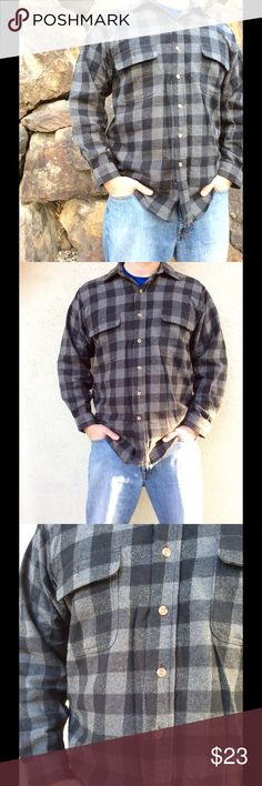 Men's Warm Plaid Button Down Shirt Nice and warm black and gray button down shirt. Dutton wrist cuffs. Brand new never worn. Shirts Casual Button Down Shirts