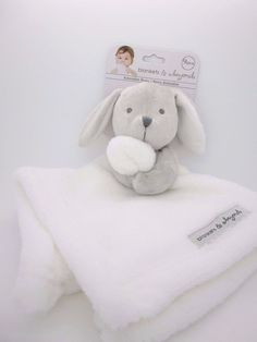 New Baby Nunu Gray Bunny Holding White Baby Security Blankets & Beyond #BlanketsBeyond
