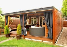 Pimped up shed: Jez Walter spent turning his garden shed into a luxury retreat with a pool table, bar, home cinema and jukebox. backyard shed Outdoor Sheds, Outdoor Rooms, Outdoor Living, Pub Sheds, Backyard Bar, Building A Shed, Building Plans, Home Cinemas, Shed Plans
