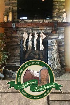 Fireplace Mantel with Ironwork and Christmas Stockings