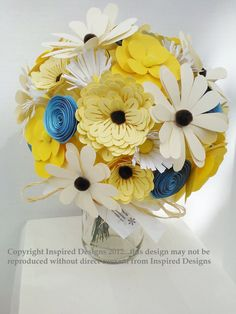 Anniversary gift paper flower bouquet table by lindseyelizabeth03, $55.00