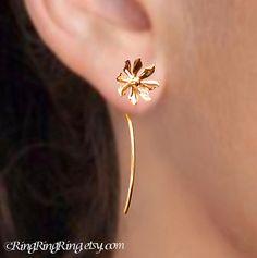 Long Stem Earrings Solid 18K Gold Wild flower by RingRingRing