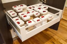 Drawers in the pantry for easy access. www.thekitchendesigncentre.com.au