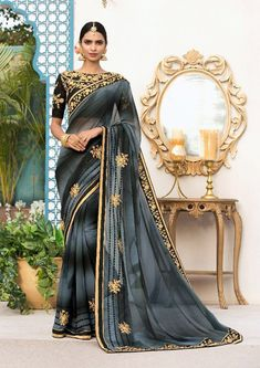Georgette Saree No. 8426 This Saree Is Fabricated On Georgette Paired With Art Silk Fabricated Blouse. It Has Embroidery Over The Blouse And Saree PM for price Indian Attire, African Attire, Indian Wear, Indian Outfits, Designer Sarees Collection, Saree Collection, Black Grey Ombre, Gray, Middle Eastern Fashion