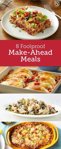 Make-Ahead Meals to Stock Your Fridge & Freezer Busy schedules and dinnertime don't always mix. These easy, delicious make-ahead meals will inspire your dinner prep and be a savior during busy weeks. Casserole Recipes, Crockpot Recipes, Chicken Recipes, Cooking Recipes, Healthy Recipes, Freezer Cooking, Freezer Recipes, Cooking Tips, Pizza Casserole