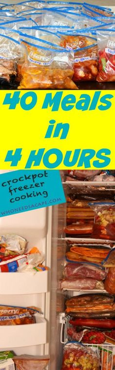 40 Meals in 4 Hours Prep 40 slow cooker meals in 4 hours, freeze & cook at your convenience.  A huge time & budget saver! Pinned over 500K times, you need this!!!