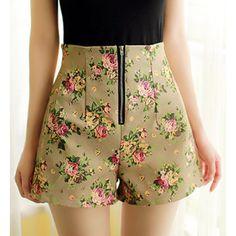e3b571cc929 Stylish High-Waisted Zippered Floral Print Women s Shorts