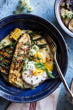 Grilled summer veggies and cheese polenta