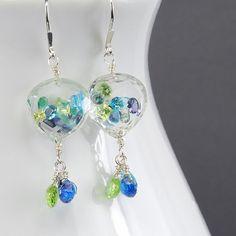 Multi Gemstone Dangle Earrings. Floating Gem Dangle by agusha, $135.00