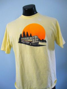 Vintage Wilson Bus TShirt Camping Forest Trees Light Yellow Soft n Thin LARGE. $23.99, via Etsy.