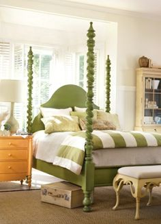 I love the idea of painting a bed a surprising color. i may have to do this in my son's room?