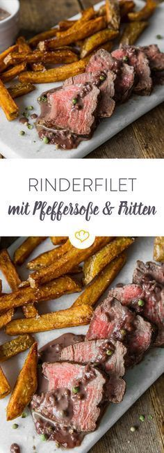 Rinderfilet mit Pfeffersauce und Fritten Why not a real kitchen classic again? Beef fillet with pepper sauce and homemade fries. Easy Fish Recipes, Baby Food Recipes, Asian Recipes, Homemade Fries, Homemade Baby Foods, Sauce Recipes, Beef Recipes, Healthy Recipes, Avocado Dessert