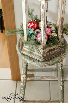 Rusty Hinge Lantern... Ornaments... Greens... Chippy Chair...