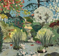 "Cressida Campbell (born Australian) Woodblock Print on Paper ""Milton Park"", 1989 (The David Clarke AO Collection of Australian Art) Courtesy of: Sotheby's AustraliaArt my Fire ( Art And Illustration, Abstract Landscape, Landscape Paintings, Fields In Arts, Milton Park, National Art School, Digital Museum, Collaborative Art, Australian Artists"