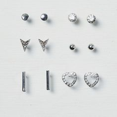 American Eagle Geo and Stud Earring 6-Pack ($13) ❤ liked on Polyvore featuring jewelry, earrings, silver, geometric earrings, studded jewelry, steel jewelry, geometric jewelry and stud earrings