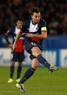Zlatan Ibrahimovic in action during the UEFA Champions League group C match between Paris Saint Germain and RSC Anderlecht at Parc des Princes on November 5, 2013 in Paris, France.