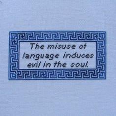 Socrates/Grammar Quote Cross-Stitch Pattern. $4.50, via Etsy.