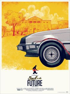 Back to the Future screen printed poster - sold in a set of three, when hung together make the entire DeLorean and time periods of each film.
