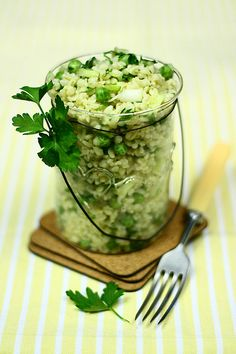 Bulgur salad with spring onion and pea by bognarreni, via Flickr