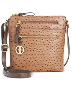 Giani Bernini North South Ostrich Printed Crossbody, Only at Macy's -