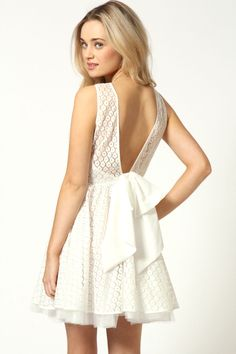 Mollie Floral Lace Low Back Bow Detail Net Skater Dress at boohoo.com
