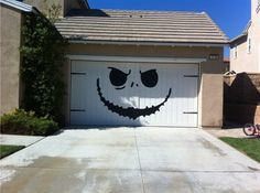 Jack Skellington - Nightmare Before Christmas Style - Huge Garage Decal - Halloween Decorations - Vinyl Wall Art - Huge 80 x 100 inches. I wonder how my Homeowners Assoc. would like this on our garage doors? Spooky Halloween, Deco Porte Halloween, Fete Halloween, Holidays Halloween, Halloween Crafts, Happy Halloween, Garage Door Halloween Decor, Halloween Design, Cool Halloween Decorations