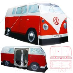 I need this! Combines my love of camping with my obsession for vintage VW vans. VW CAMPER VAN TENT - RED