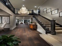 Home Improvement Archives Traditional Staircase with Balcony, Crown molding, Chandelier, High ceiling, Hardwood floors Dream House Interior, Dream Home Design, House Design, Style At Home, Traditional Staircase, Pinterest Home, Foyer Decorating, House Stairs, Staircase Design