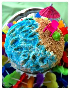 Easy Luau Beach Themed Birthday Party for kids. #Beach #Cake - So TIPical Me