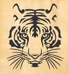 Tiger SVG head of a tiger svg dxf eps png print and cut file for Silhouette Cricut tattoo design t-shirt designs wall decor Stencil Animal, Tiger Stencil, Kopf Tattoo, Cricut Design Studio, Scroll Saw Patterns, Cross Patterns, Wood Patterns, Tiger Tattoo, Print And Cut