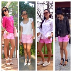 Pink shorts four different outfits