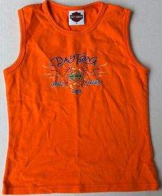 Harley Davidson, Motor Cycles, Daytona Beach Florida, Bike Week 2002, Orange Shirt Small | http://www.bikeraa.com