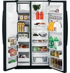 In-the-door beverage racks on our GE Profile Series Side-By-Side refrigerator give you more convenience in the kitchen and let you store all of your family's favorite drinks in one spot, so you can close the door quickly and keep your food fresh.