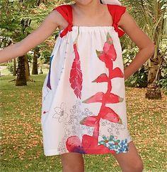 Girl dress/tropical flowers dress/Cotton dress/strap by Danideng, $39.00