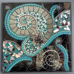 """Splash"" by Kathy Rickermann 2013 Smalti, glass, glitter tiles, mirror, millefiori, glass tiles, bbs, ball chain"