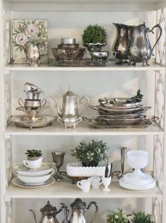 My silver collection on display! silver- collectibles- vintage silver- collecting- silver tableware- table settings- display ideas for collection White Cottage, Cabinet Decor, French Country Decorating, Country French, Cottage Decorating, Home Decor Trends, Vintage Home Decor, Vintage Diy, Home Decor Accessories